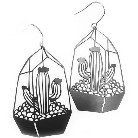 denz & co. earrings 'terrarium dangles' black