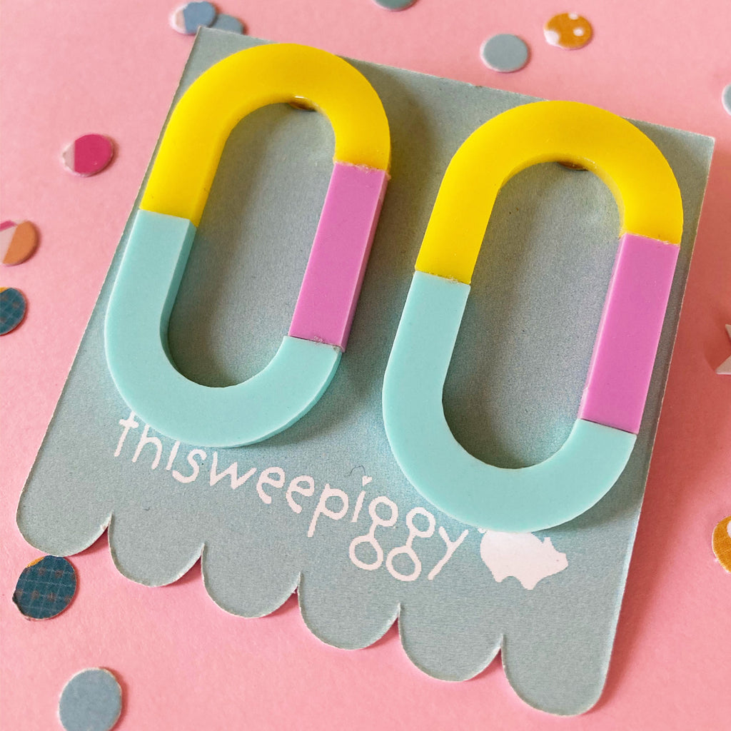 this wee piggy earrings 'three way' yellow, pink & mint