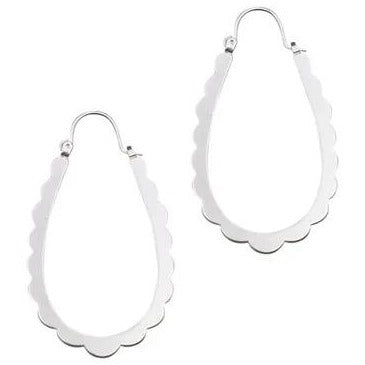 fabienne earrings 'long scalloped hoops' silver