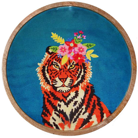 ruby star traders round tray 'tiger floral garland'