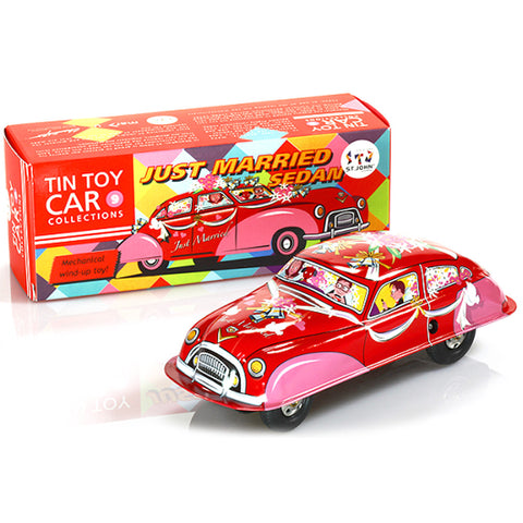 retro tin toy 'just married wind-up car'