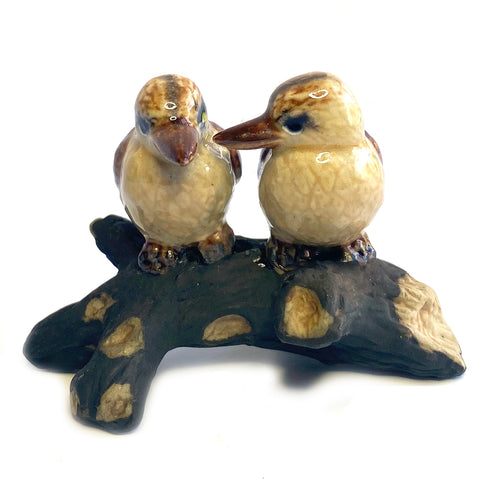 miniature ceramic 'kookaburras on branch'