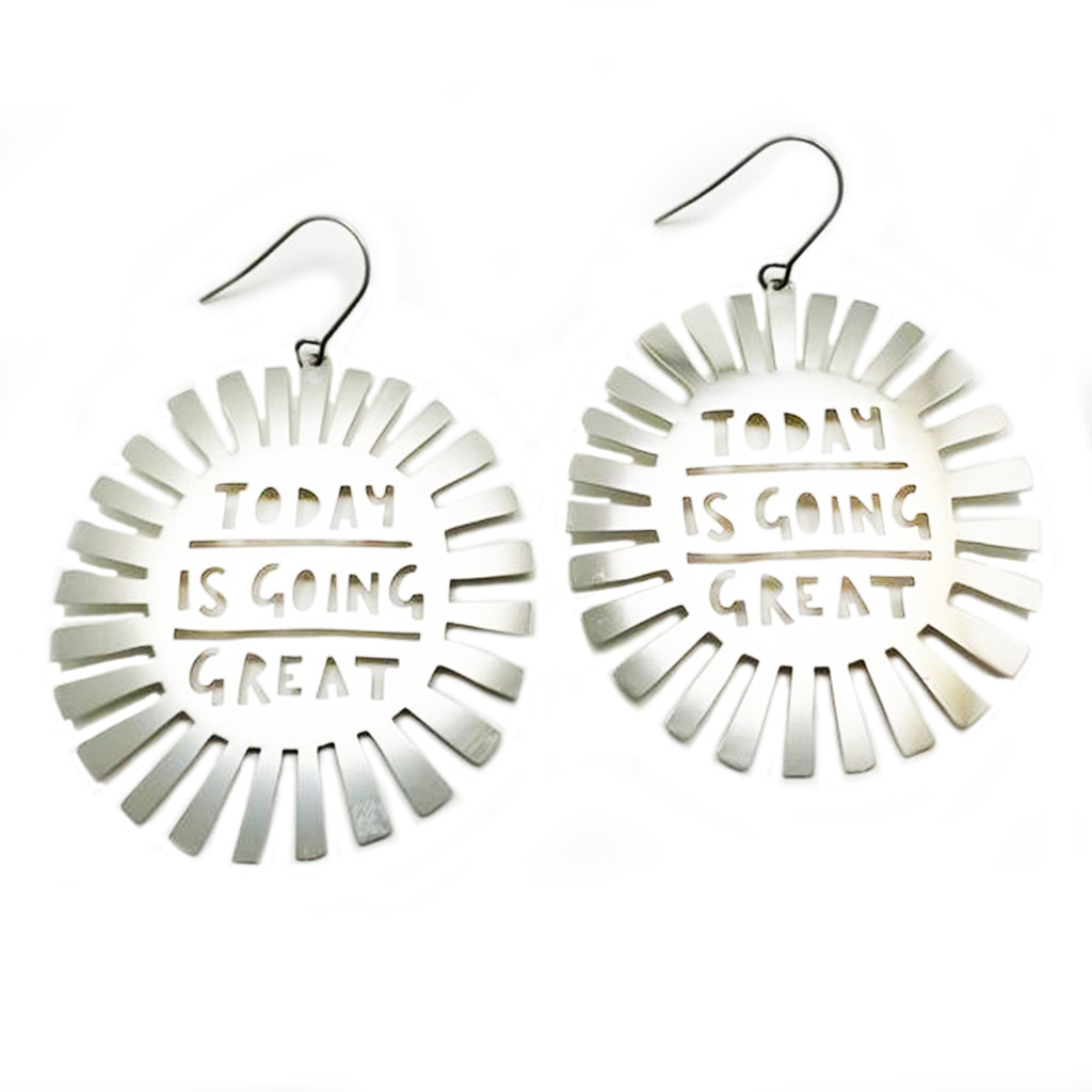 denz & co. earrings 'today is going great dangles' silver