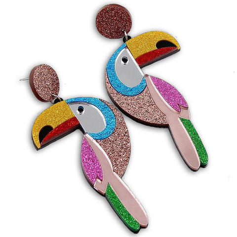sugar earrings acrylic 'glitter toucans'