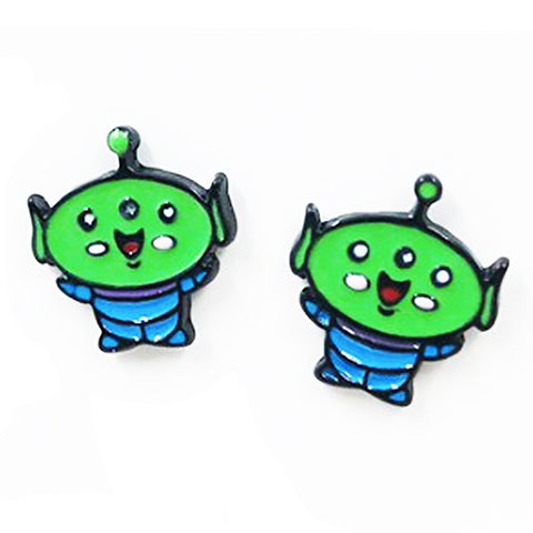 sugar earrings enamel 'toy story alien cartoon' studs