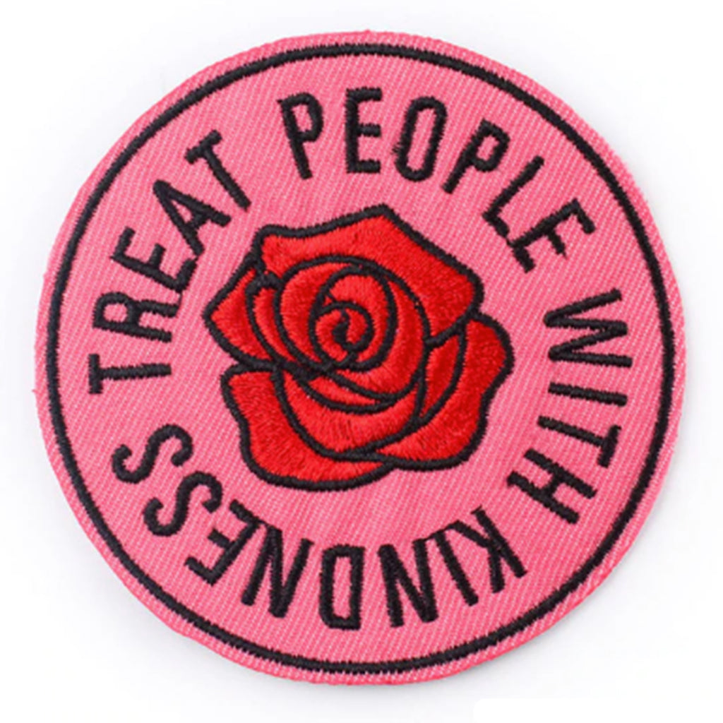 embroidered iron-on patch 'treat people with kindness'