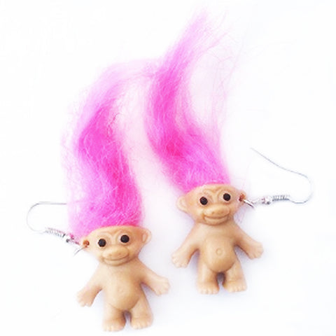 sugar earrings 'troll doll dangles' pink hair