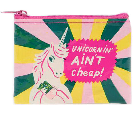 blue q coin purse 'unicornin' ain't cheap'