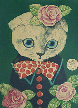 poster print 'vintage cat spotty bow tie' A4 - the-tangerine-fox