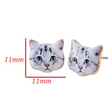 sugar earrings 'enamel white & grey cat'