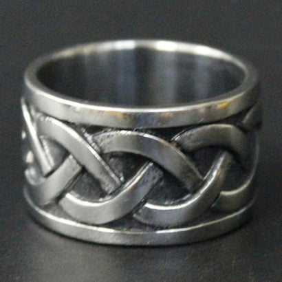 men's ring 'knot wide band' silver