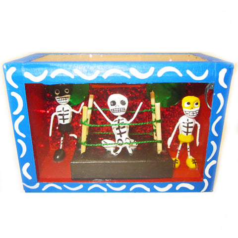 mexican folk art 'day of the dead wrestling match' nicho box