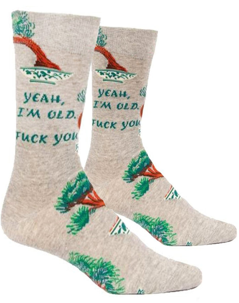 blue q men's socks 'yeah, i'm old, f*ck you'