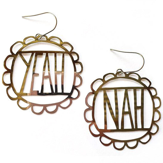 denz & co. earrings 'yeah nah dangles' silver
