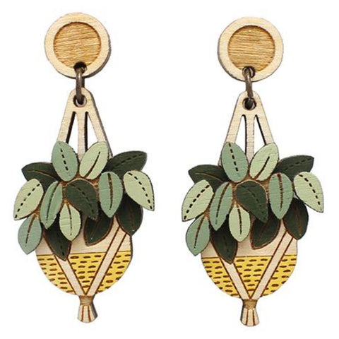 layla amber earrings 'yellow hanging plant drops'