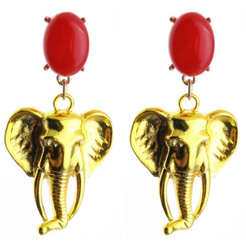 sugar earrings 'metallic elephant dangles' red & yellow