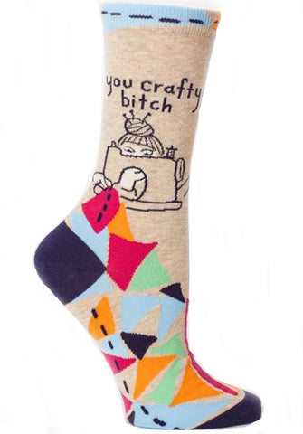 BLUE Q WOMEN'S SOCKS 'YOU CRAFTY BITCH'