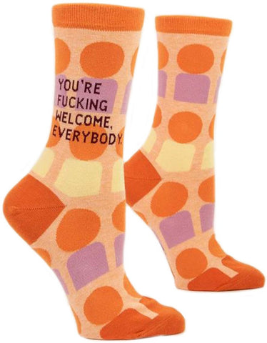 blue q women's socks 'you're f*cking welcome'