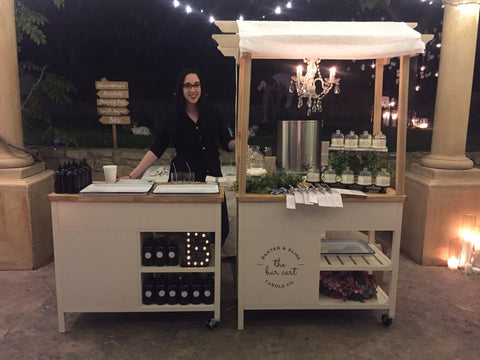 Banter & Bliss On Location Bar Cart Wedding Candlemaking Experiential Favors