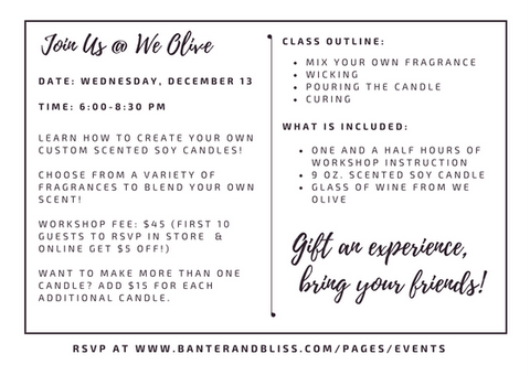 Details for Banter & Bliss Candlemaking Workshop at We Olive Pasadena