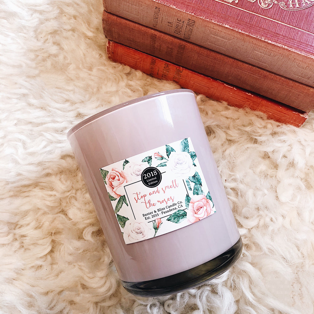 STOP AND SMELL THE ROSES. Limited Edition Pasadena-Inspired Coconut Wax Blend Candle.