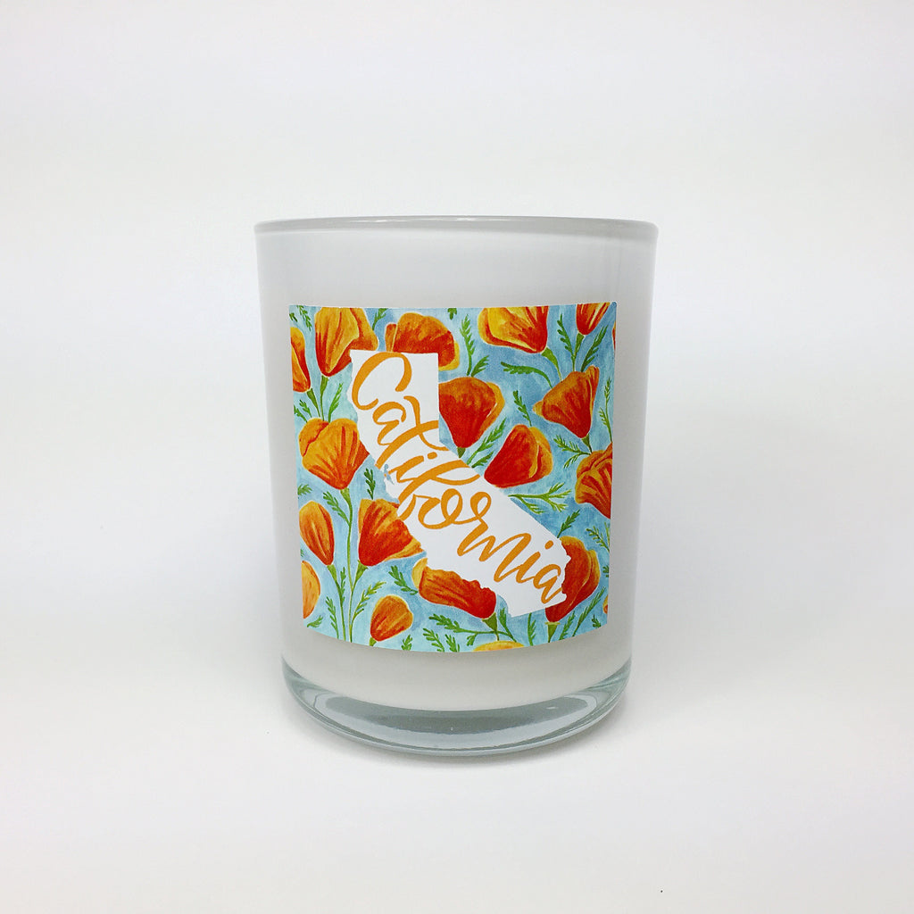 CALIFORNIA. Peach Poppy Coconut Wax Blend Candle.