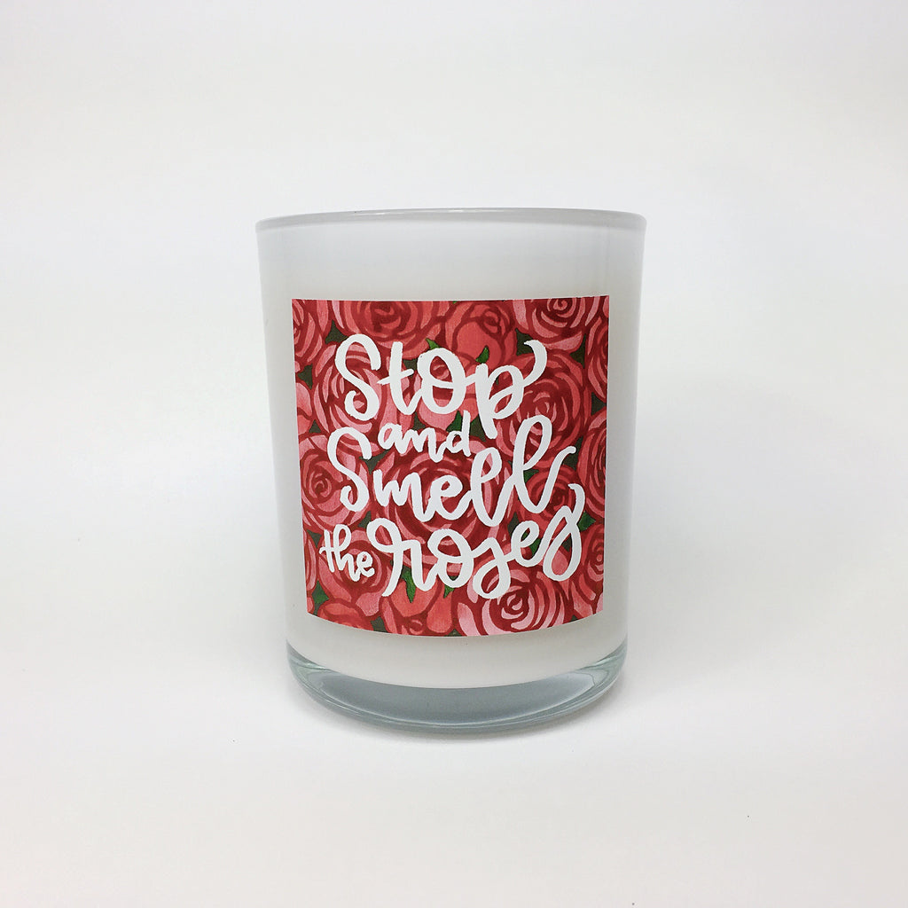 STOP AND SMELL THE ROSES. Fresh Cut Roses Coconut Wax Blend Candle.