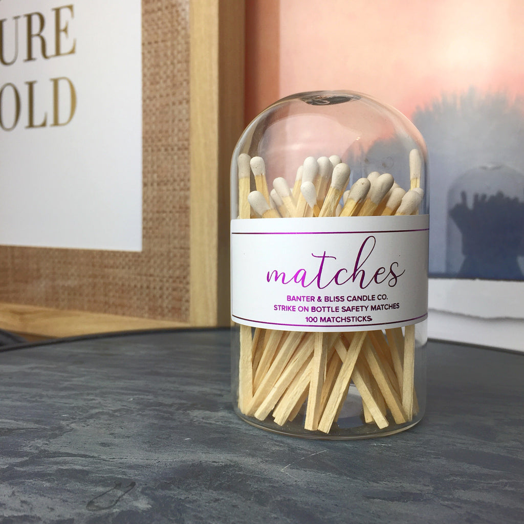 Modern Matchstick Bottle with Striker · 100 Long White Safety Matches
