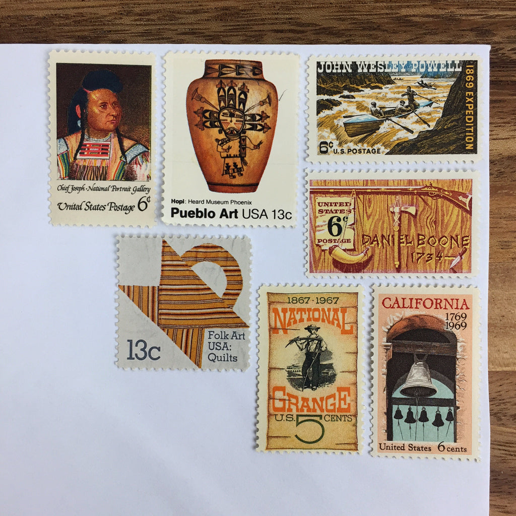 Orange & Brown Vintage Postage