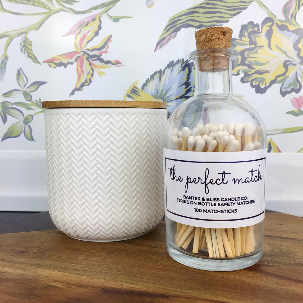 The Perfect Match · Apothecary Matchstick Bottle with Striker · 100 Long White Safety Matches