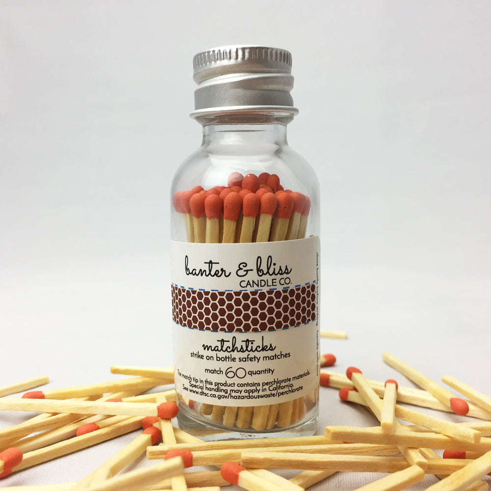 Banter & Bliss™ Match Bottle with Striker · 60 Orange Safety Matches