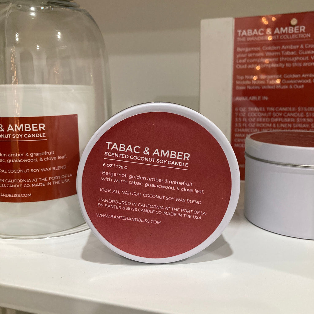 Tabac & Amber. 6 oz. Travel Tin Scented Coconut Soy Candle.