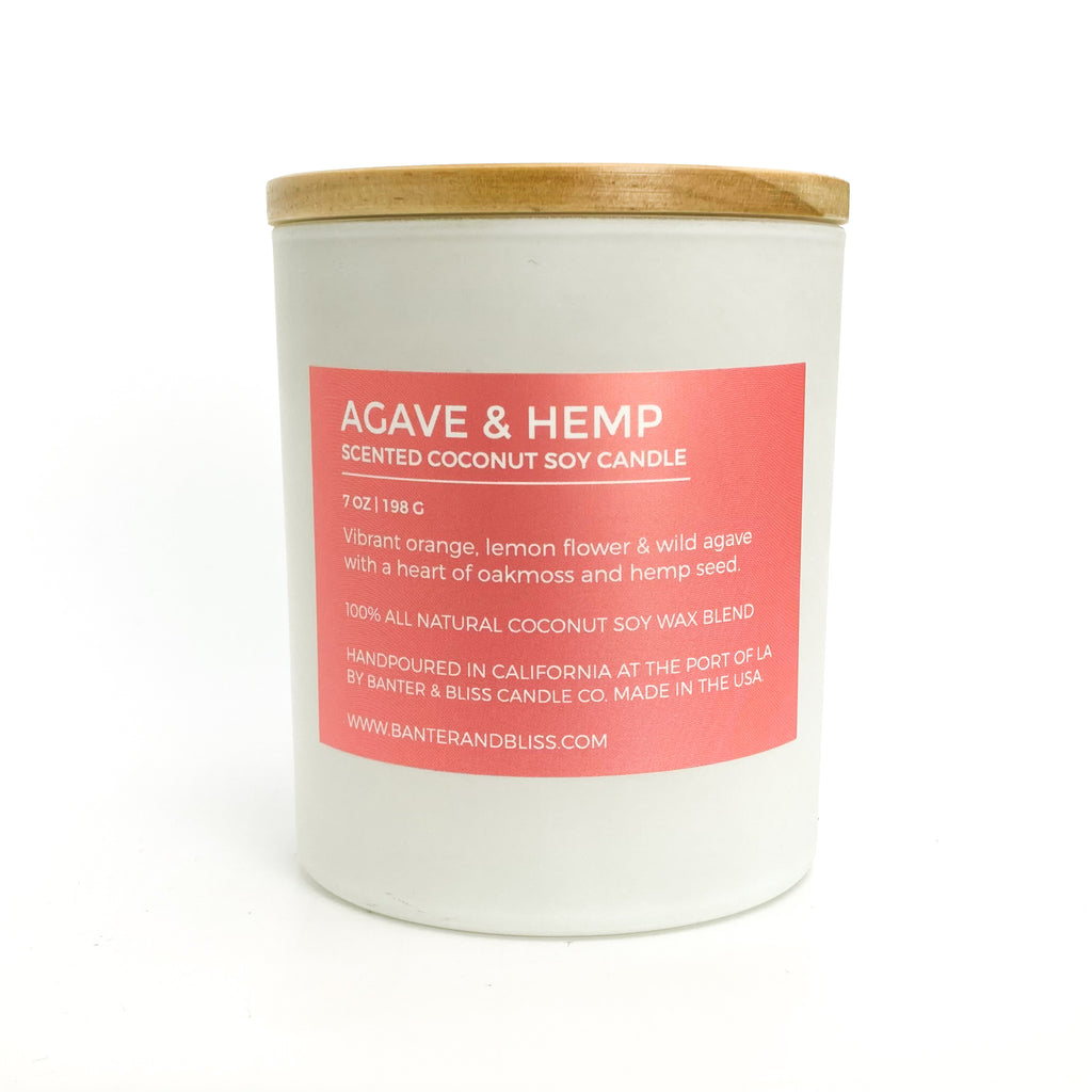 Agave & Hemp. 7 oz. Scented Coconut Soy Candle.