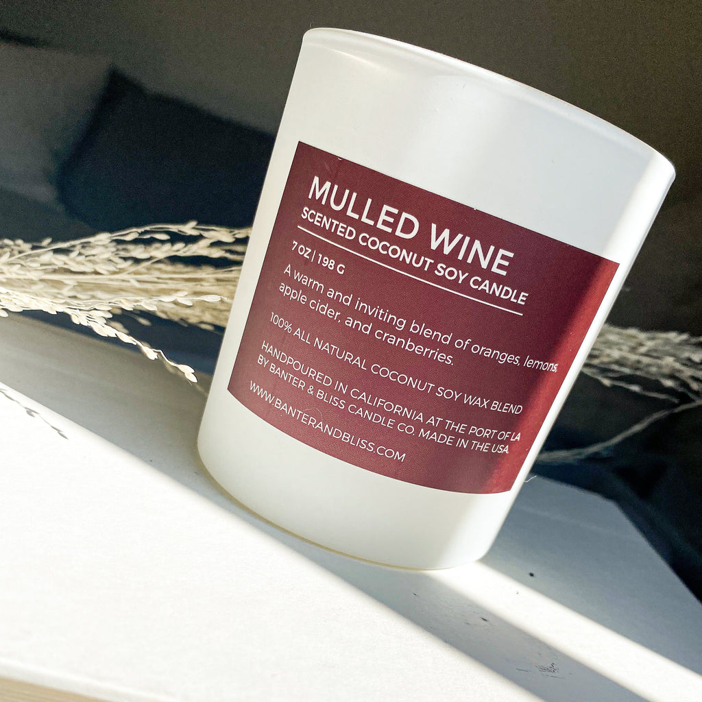 Mulled Wine. 7 oz. Scented Coconut Soy Candle.