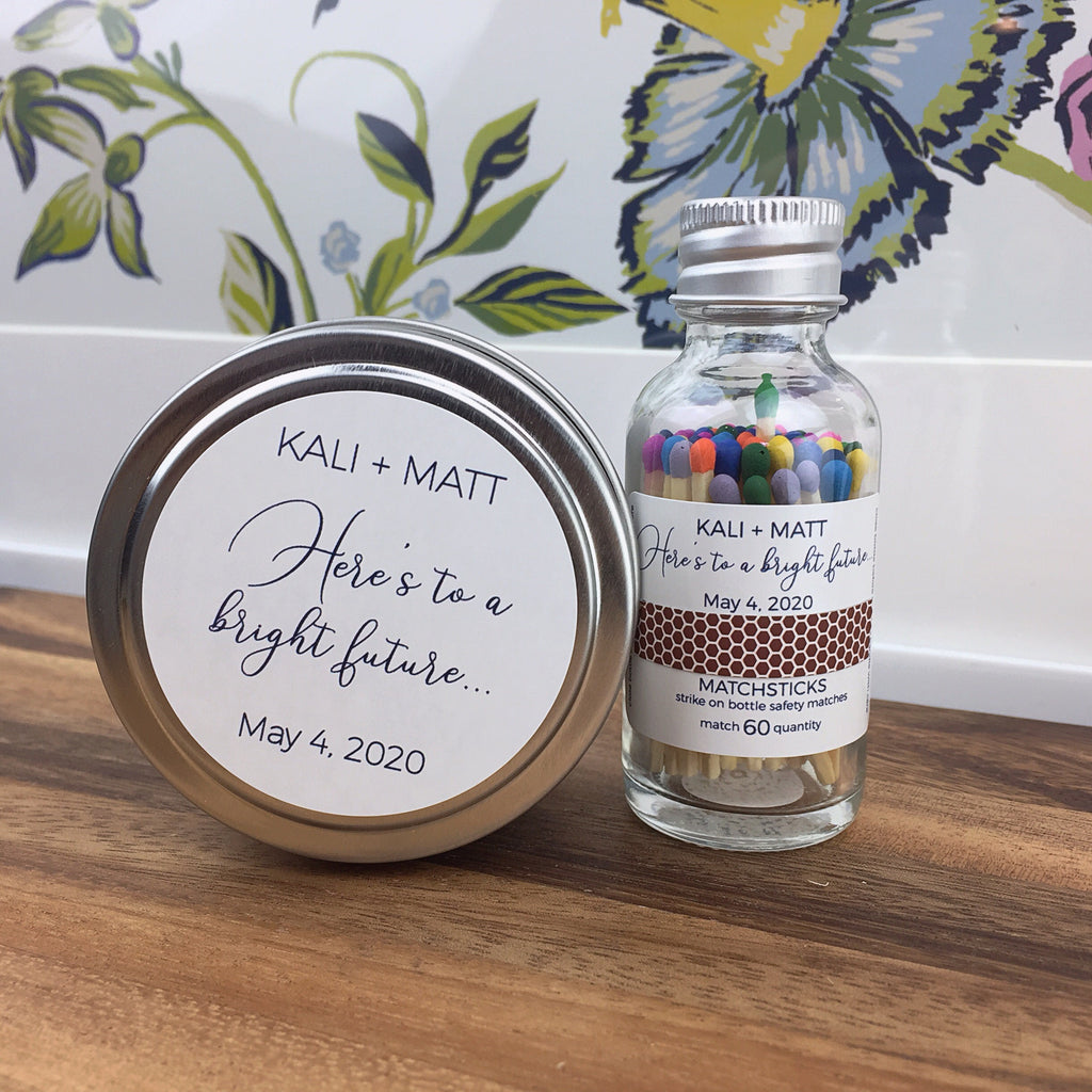 Travel Tin Candle & Match Bottle Duo. ($150 Minimum Order Required for Customization)