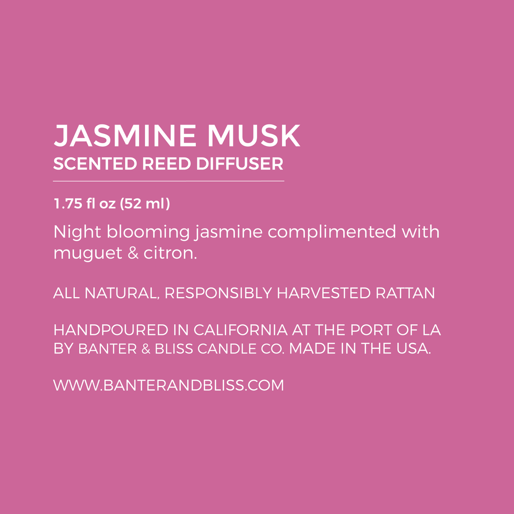 Jasmine Musk. Scented Reed Diffuser.