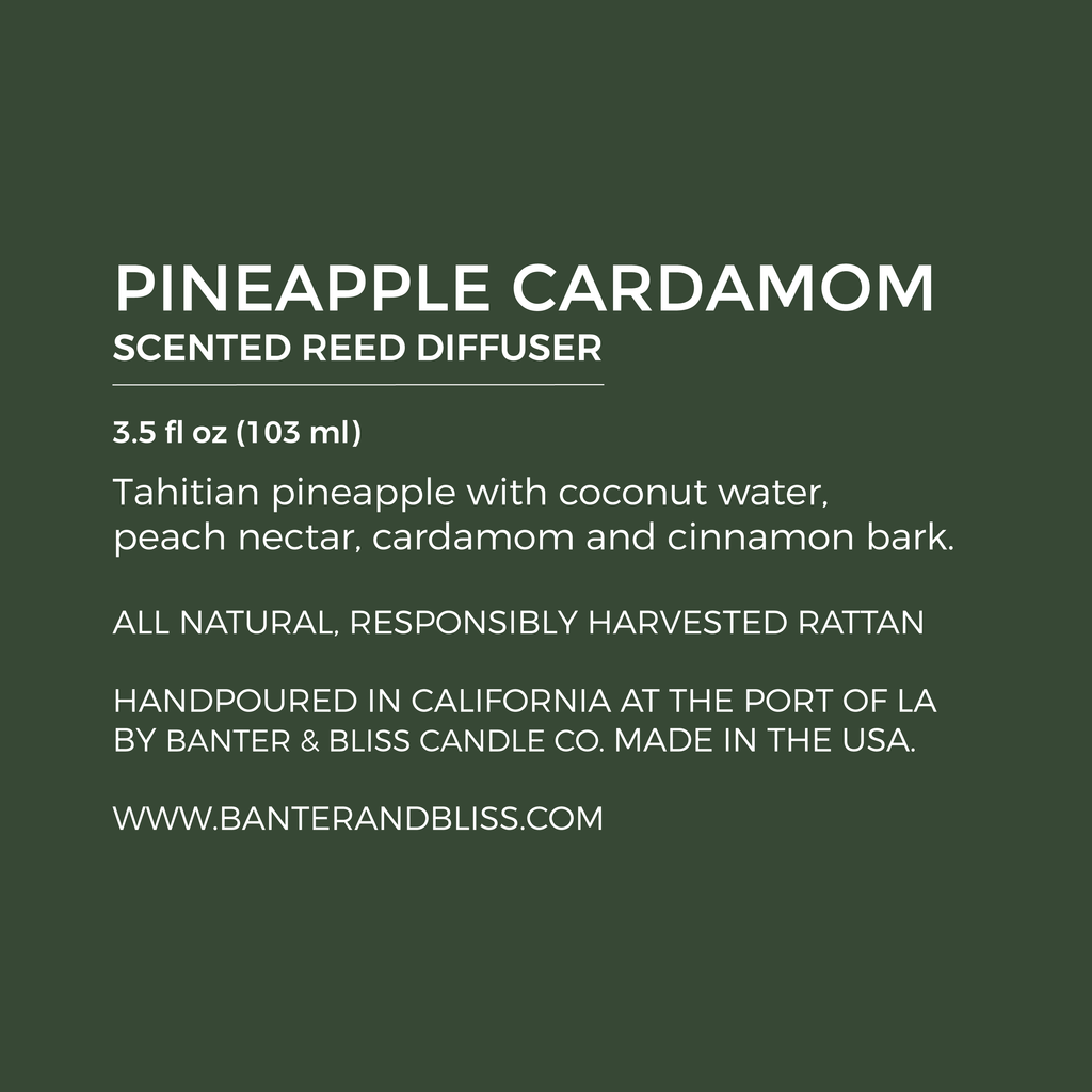 Pineapple Cardamom. Scented Reed Diffuser.