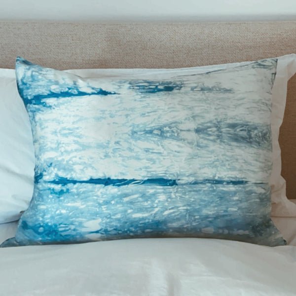 Indigo Ripples Silk Pillowcase