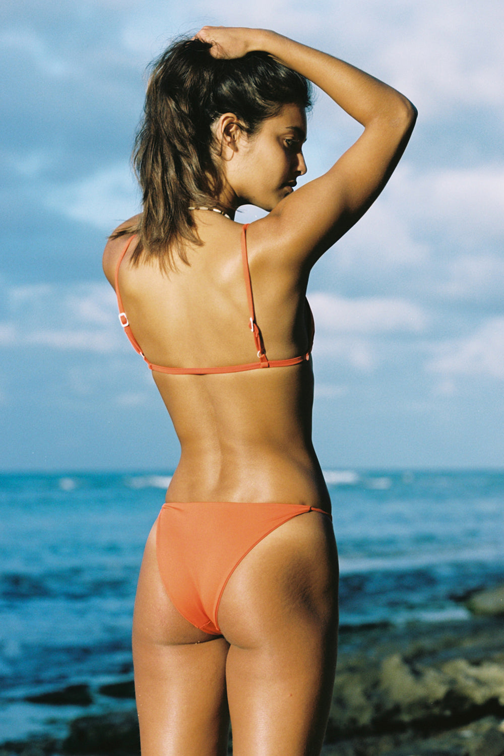 Toast Swim Signature Triangle Top in Red Orange