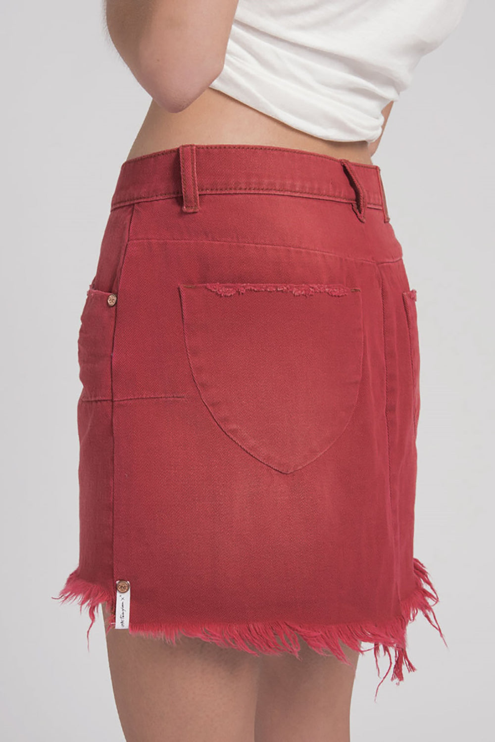 One Teaspoon Vanguard Mid Rise Skirt in Red Envy- Final Sale