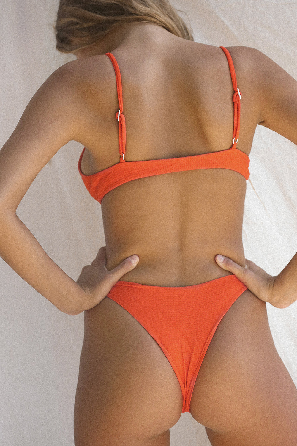 Toast Swim Signature Knot Top in Red Orange Waffle