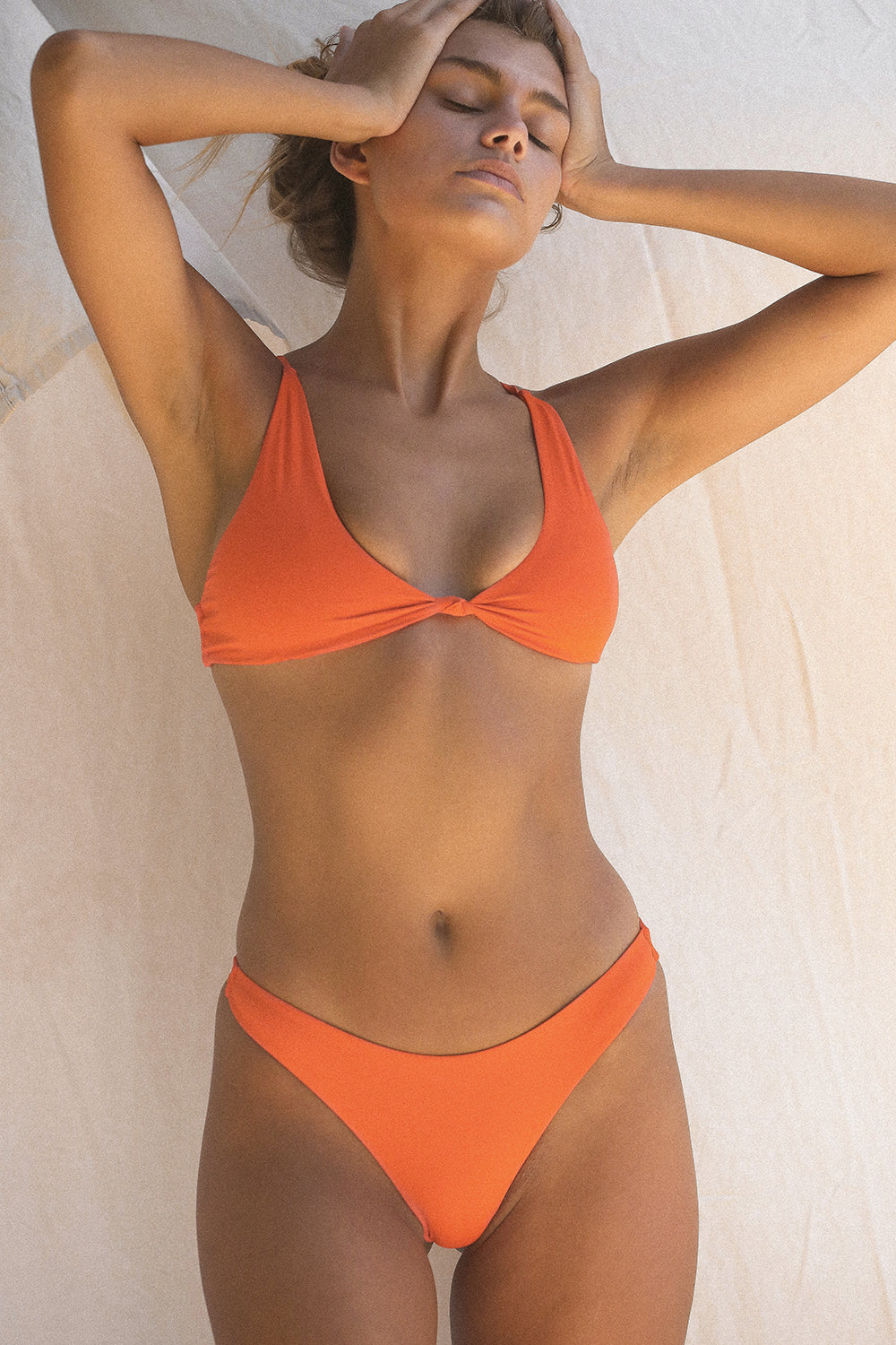 Toast Swim Signature Knot Top in Red Orange