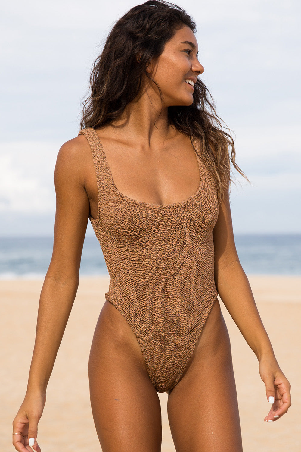 Hunza G Square Neck One Piece in Metallic Cocoa