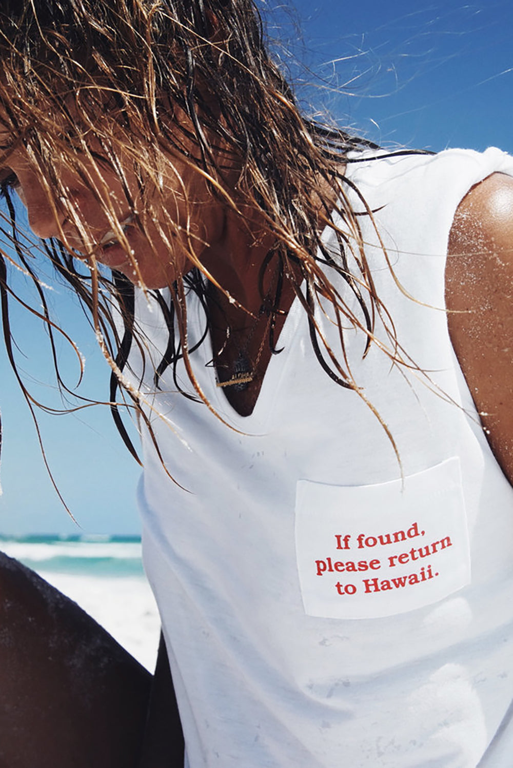 Lucky We Live Hawaii Please Return to Hawaii Tee in White