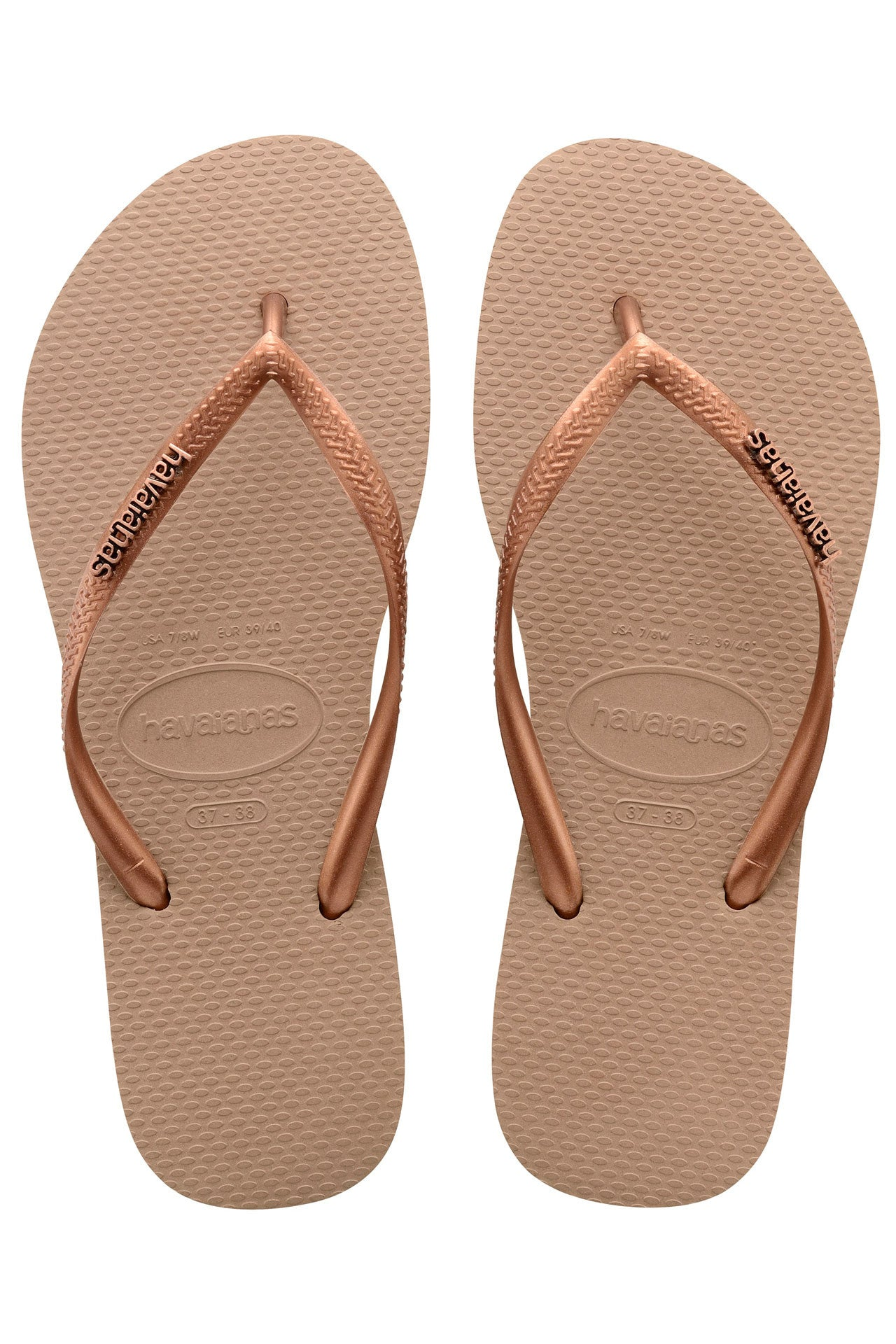 Havaianas Slim Logo Metallic in Rose/Dark Copper