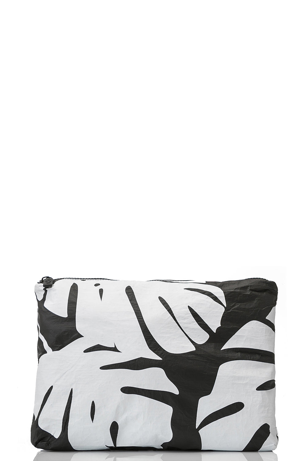 ALOHA Collection Mid Monstera Pouch White on Black