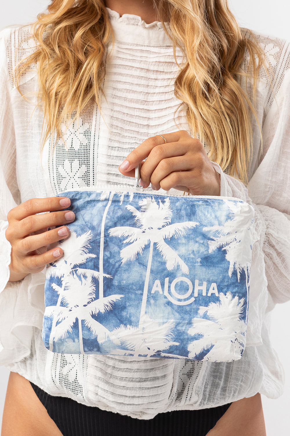 ALOHA Collection Small Coco Palms Pouch in Indigo