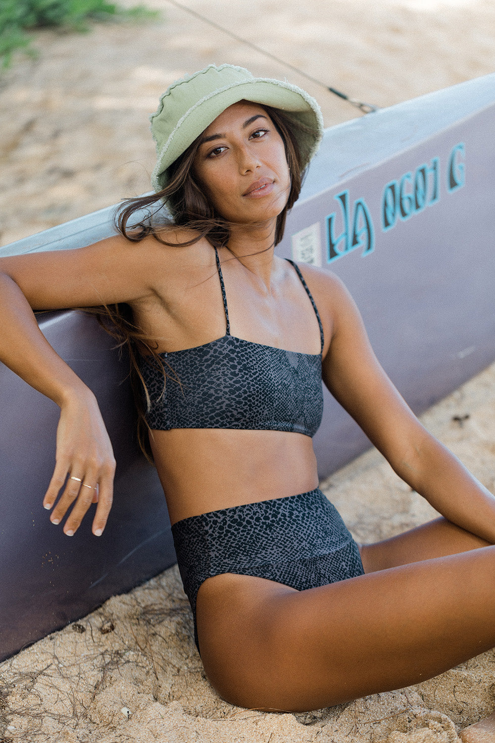 ACACIA Swimwear *EXCLUSIVE* 2021 Rhodes Top in Black Snake Lining