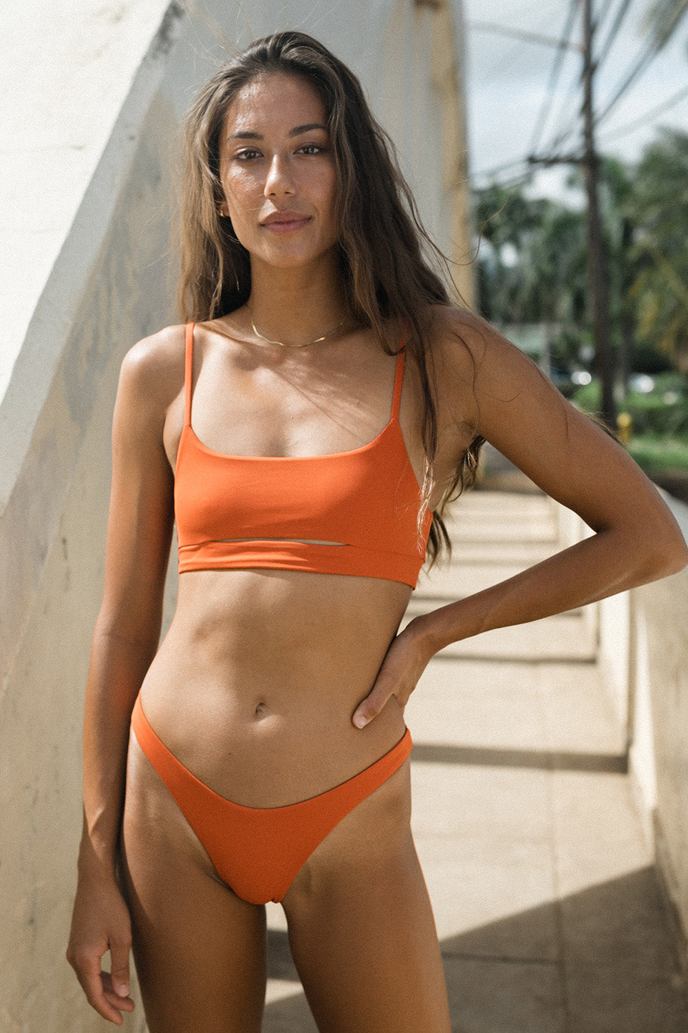 Toast Swim Signature Cut Out Top in Burnt Ochre