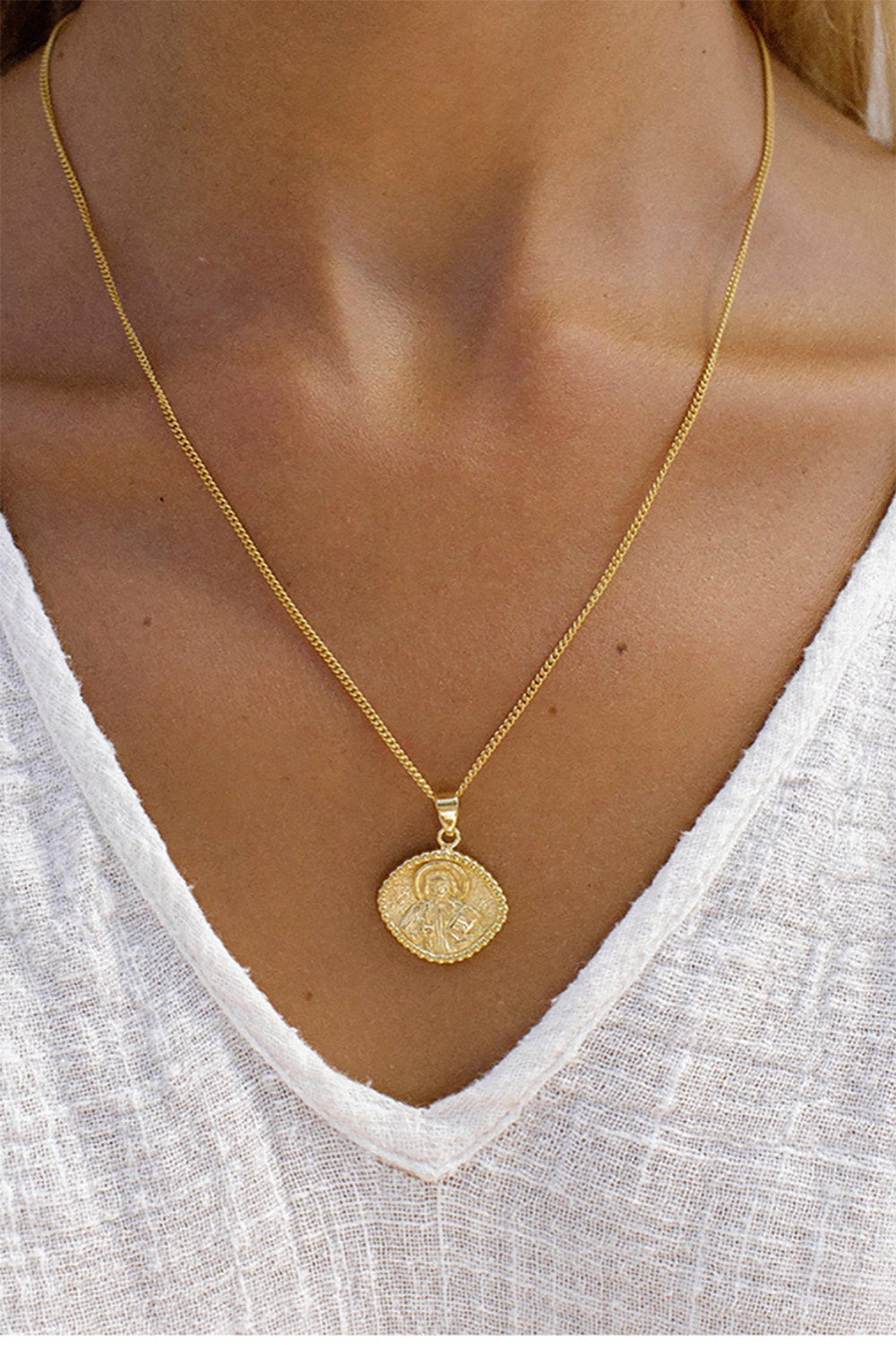 La Luna Rose St. John Patron Saint of Love and Friendships Necklace in Gold